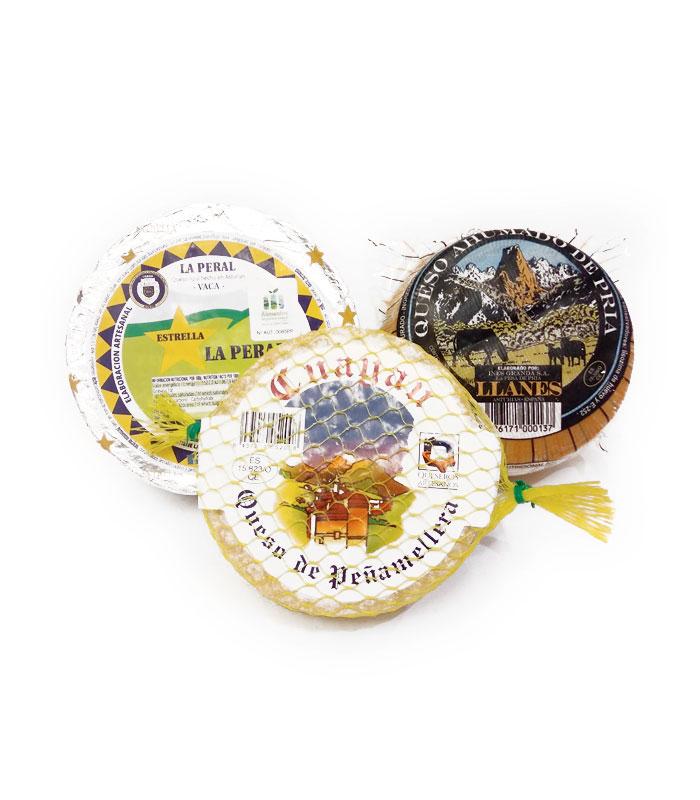 Lote de quesos de Asturias, Queso Azul La Peral, Queso Ahumado de Pría, Queso de Peñamellera, gorfoli.com tienda online quesos de Asturias