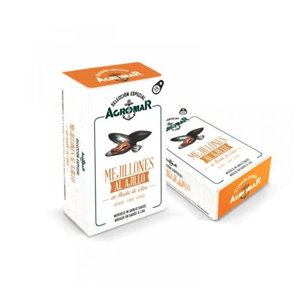 Mejillones al ajillo en lata Agromar - Gorfolí tienda online de productos de Asturias