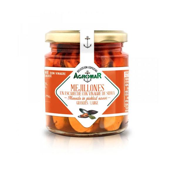 Mejillones en escabeche con vinagre de sidra Agromar - Gorfolí tienda online de productos de Asturias