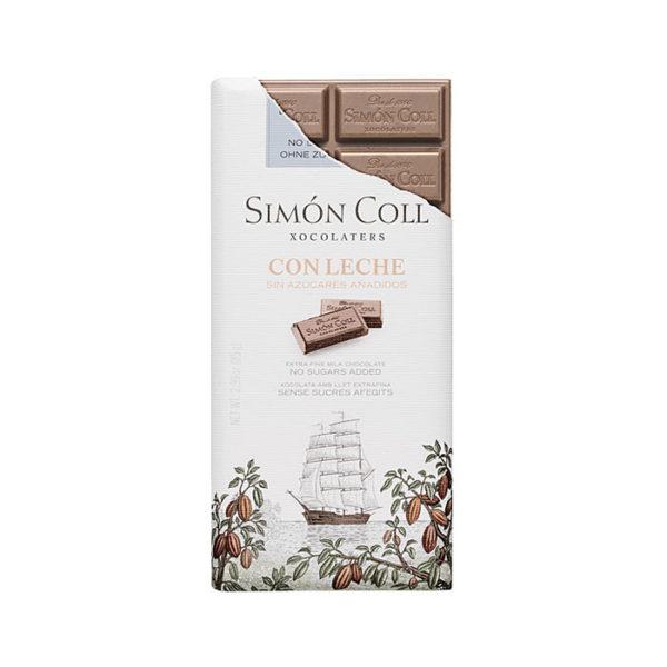 Chocolate con leche Simón Coll sin azúcares añadidos