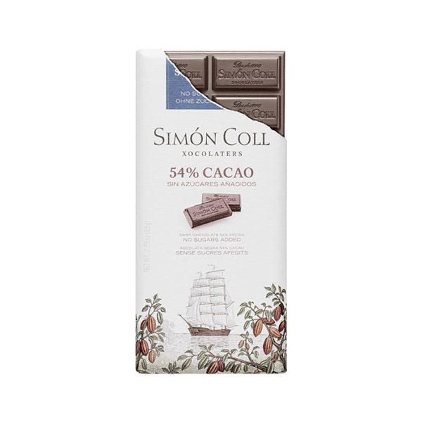 Chocolate Simón Coll 54% cacao sin azúcares añadidos