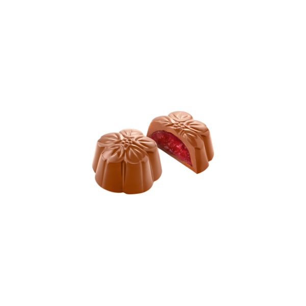 Flores de chocolate con leche y frambuesa de Chocolate Amatller, bombón, Gorfolí tienda online de productos gourmet