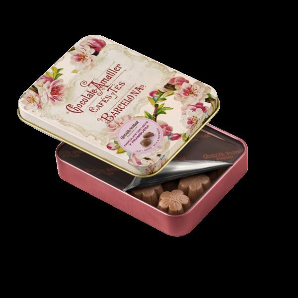 Flores de chocolate con leche y frambuesa de Chocolate Amatller, Gorfolí tienda online de productos gourmet